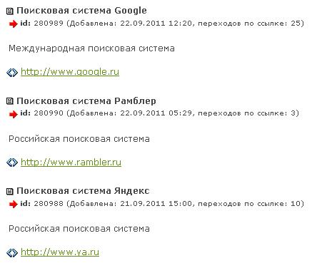 Список ссылок на сайте