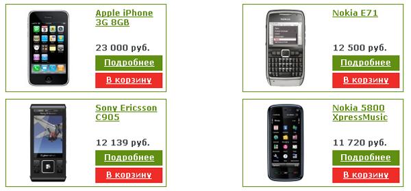 Список товаров на сайте